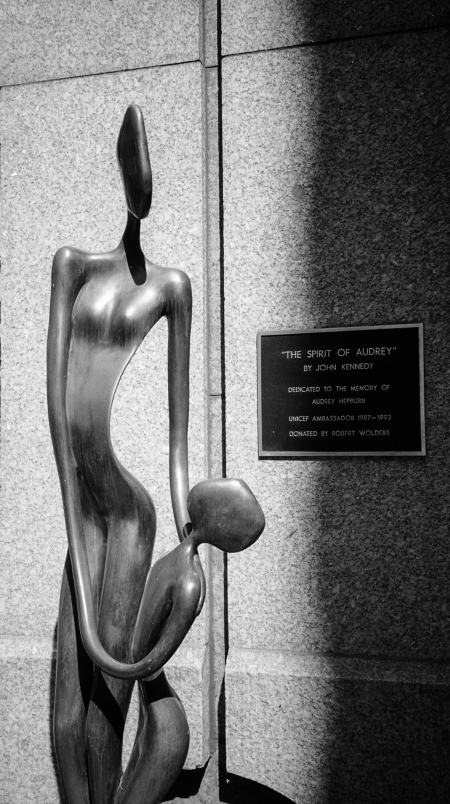 Audrey Hepburn statue outside UNICEF on 44th Street NY